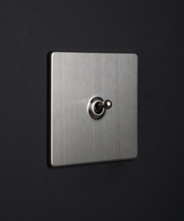 Silver toggle switch with sinle silver toggle detail