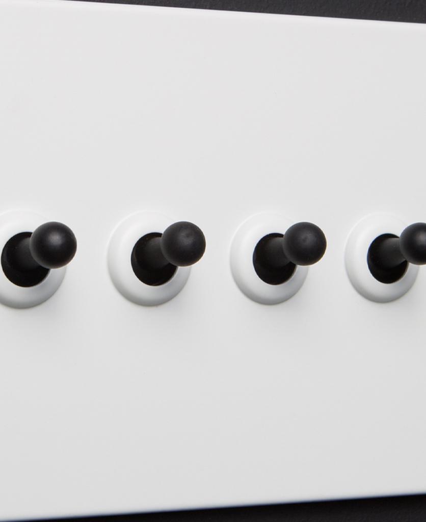white and black 4g quadruple toggle switch
