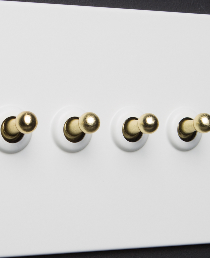 white and gold 4g quadruple toggle switch