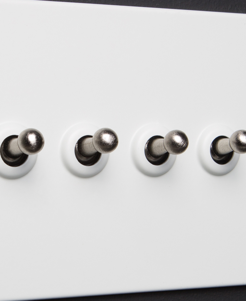 white and silver 4g quadruple toggle switch