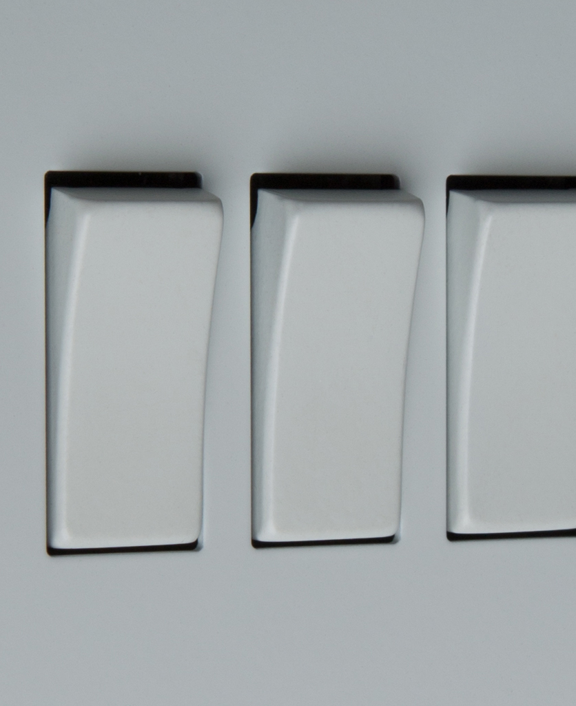white triple 3g rocker switch close up