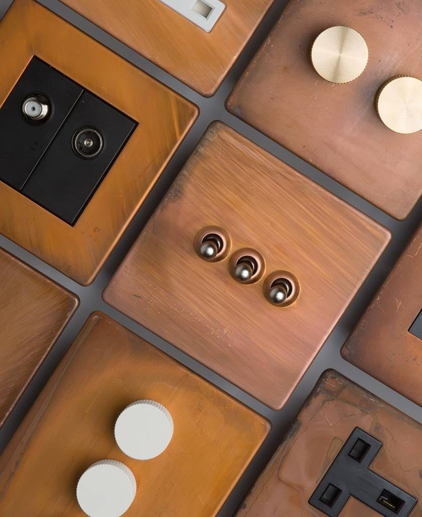copper designer light switches and sockets