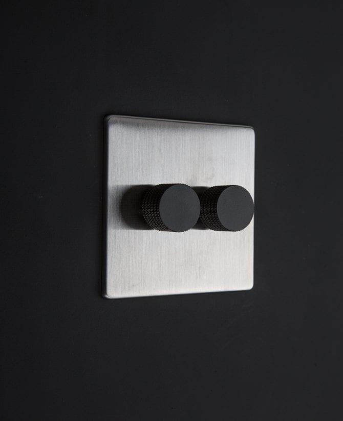 silver & black double dimmer standard