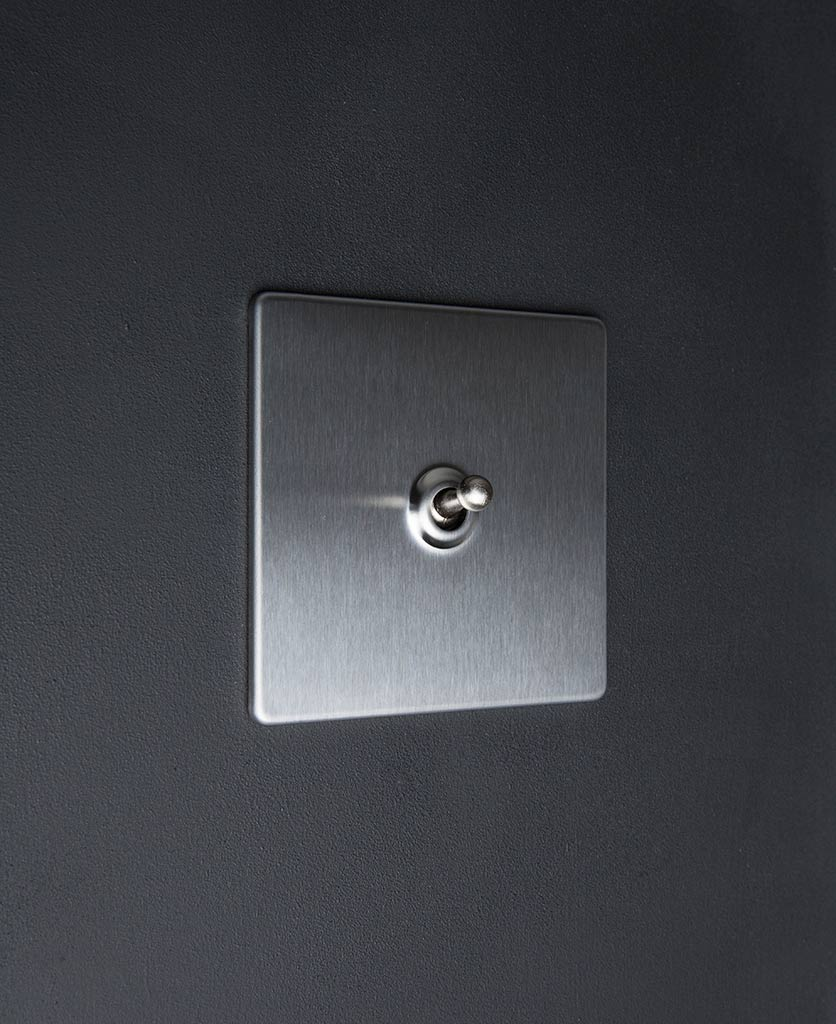 Silver Single Toggle Light Switch With Black White Gold
