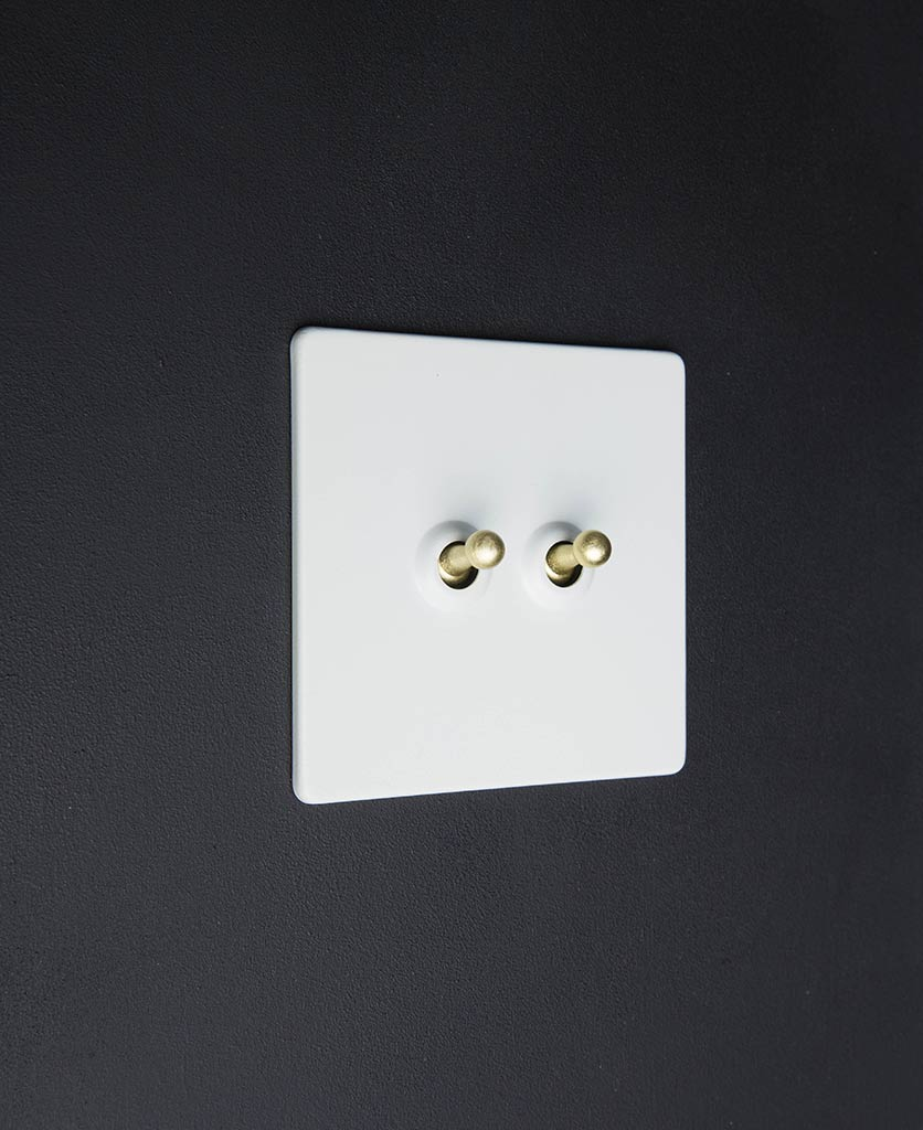 white & gold double toggle switch