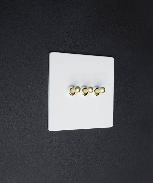 white & gold triple toggle switch