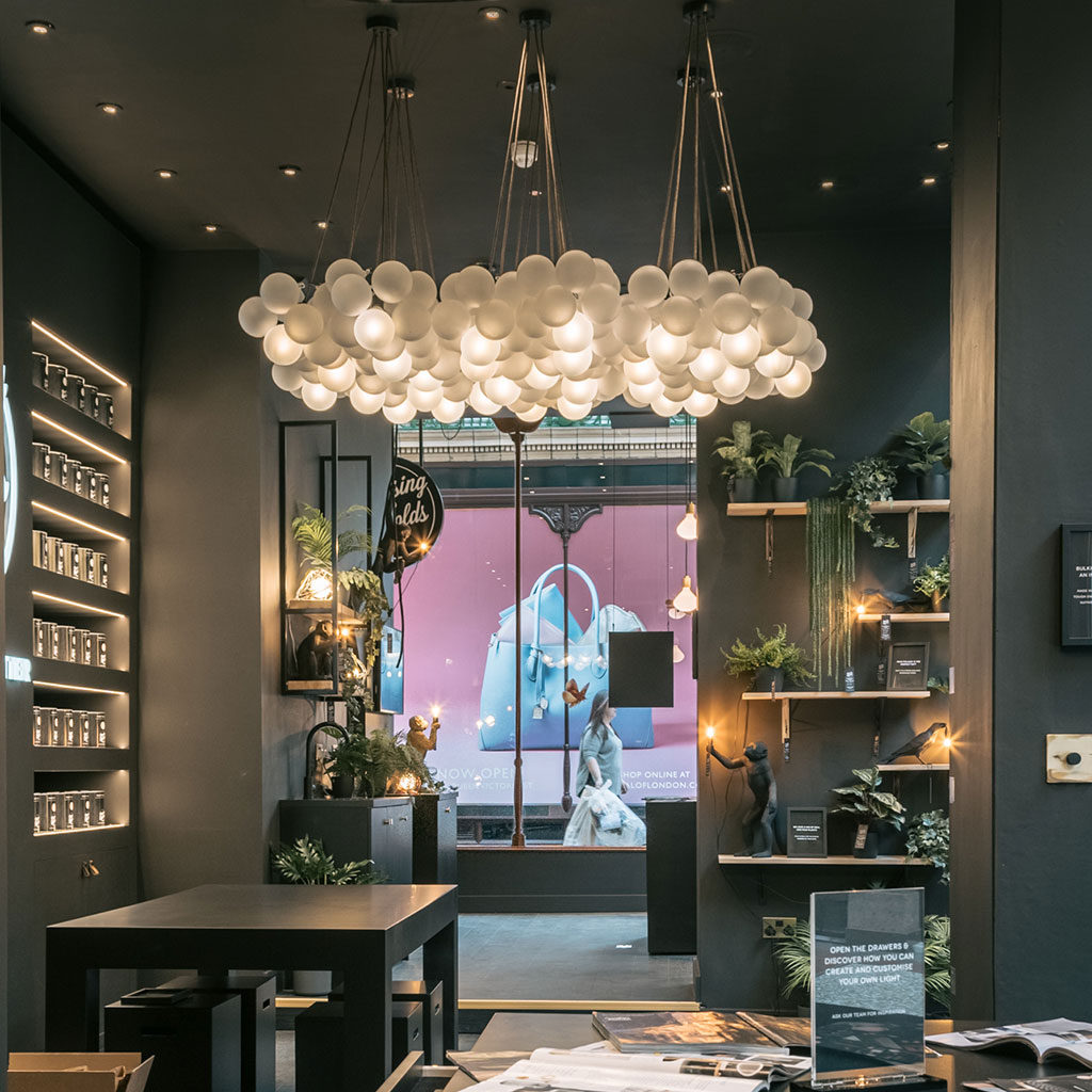 photo from inside showroom at Victoria quarter showing bubble chandelier