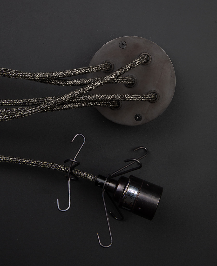Antique black 5 point ceiling rose with fisherman's jumper cable and matching black bulb holder