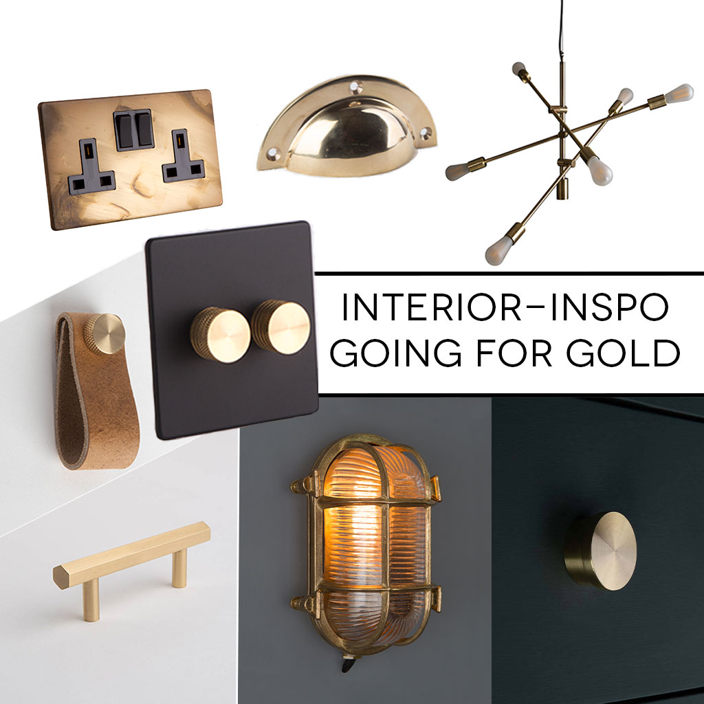 collage of black and gold accessories, dimmer light switch, chandelier, bulkhead light and kitchen door handles