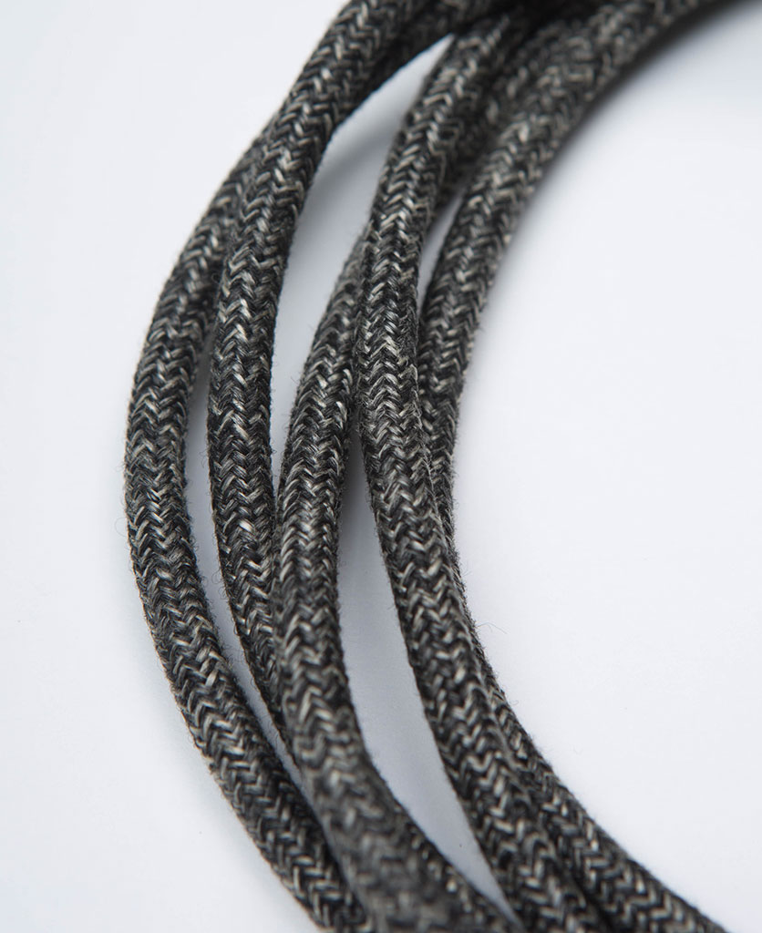 keren grey jumper fabric cable on white background