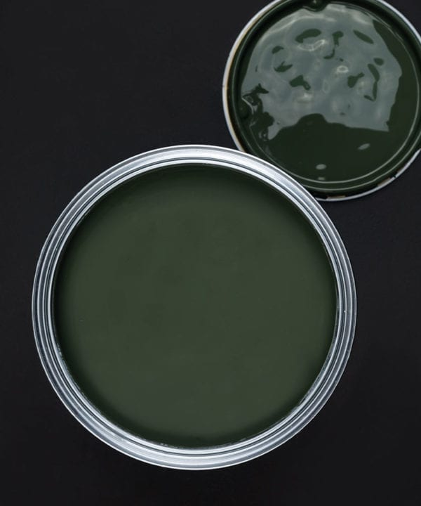 Spruce things up dark green paint tin on dark background