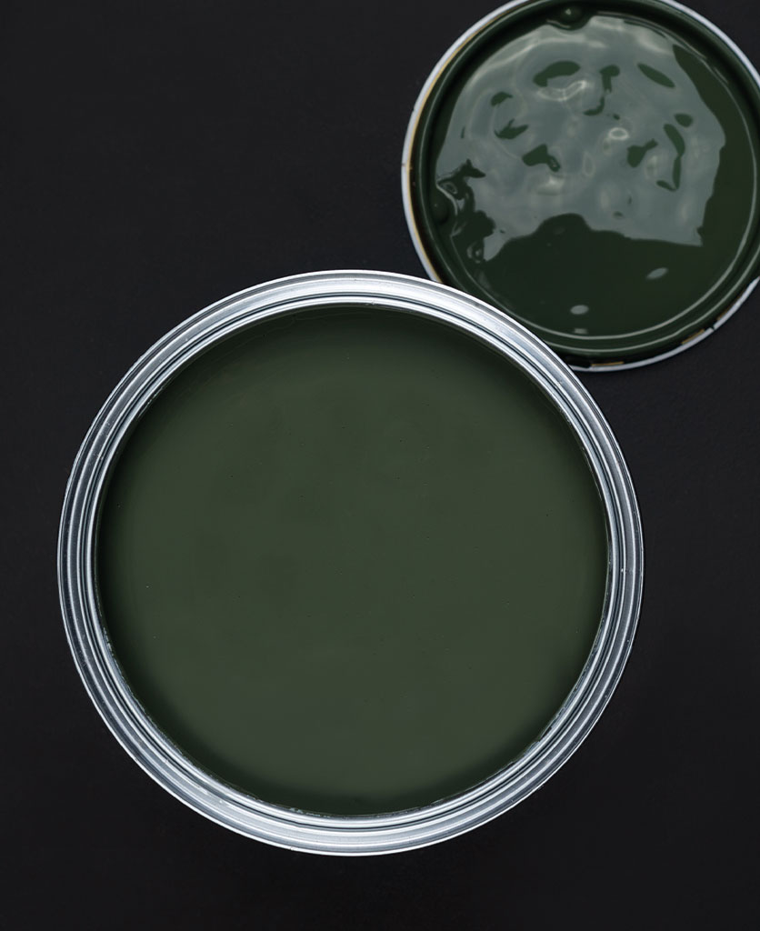Spruce things up dark green paint tin on dark background