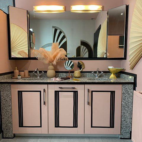 Get plastered paint used to paint cupboards in an art deco inspired bathroom