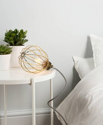 smoked gold balloon cage table lamp