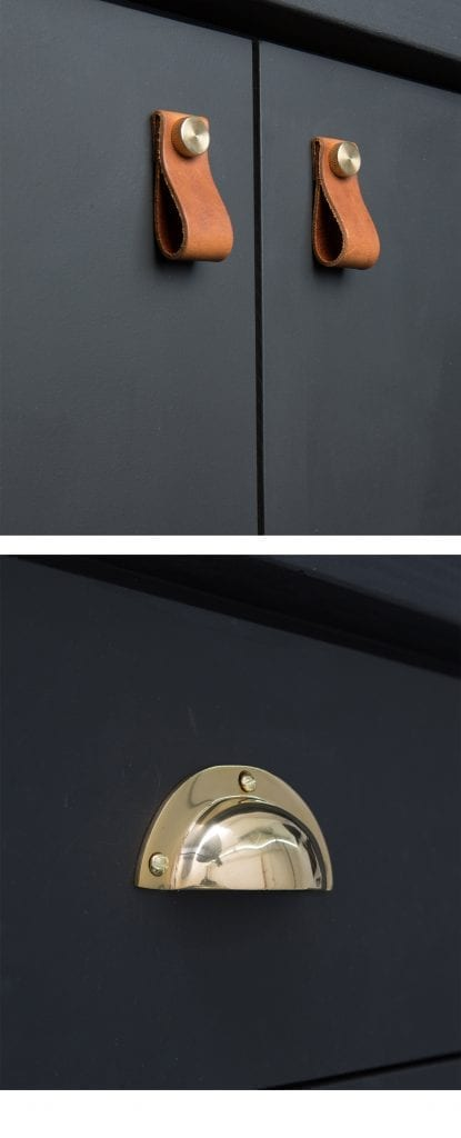 brown magni door handles with brass knobs and croft cup handle in brass