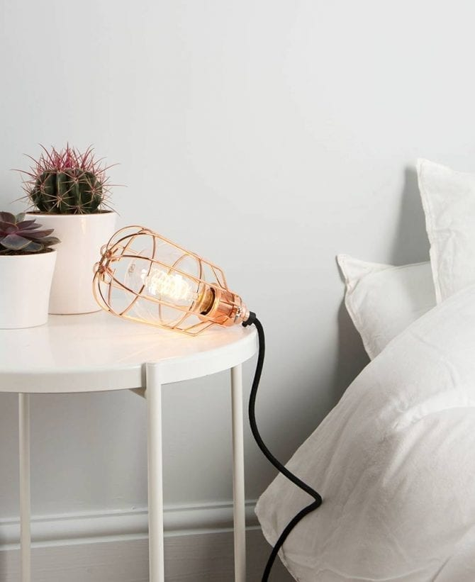 polished copper drop cage table lamp