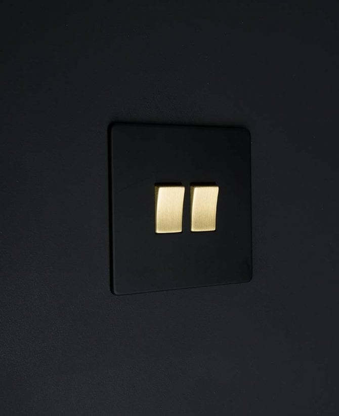 double rocker switch black & gold
