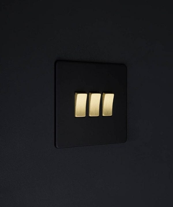 triple rocker switch black & gold