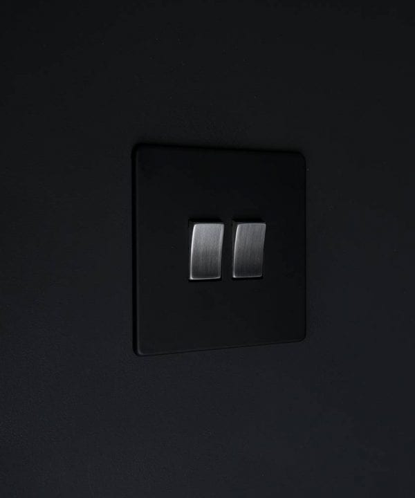double rocker switch black & silver