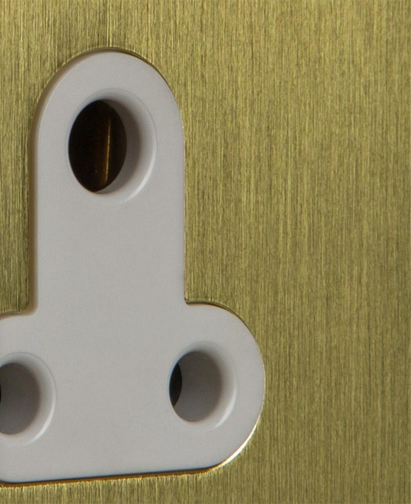 closeup of white and gold three pin plug
