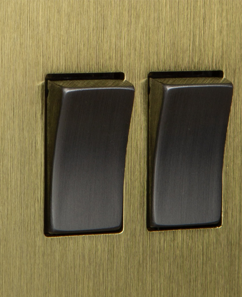 closeup of gold and silver double rocker switch