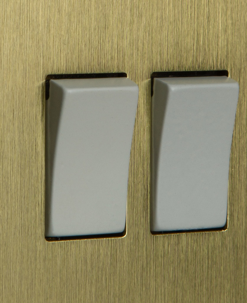 closeup of gold and white double rocker switch