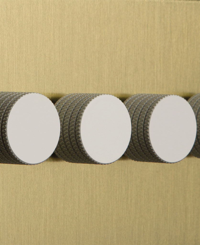gold and white quadruple dimmer switch closeup