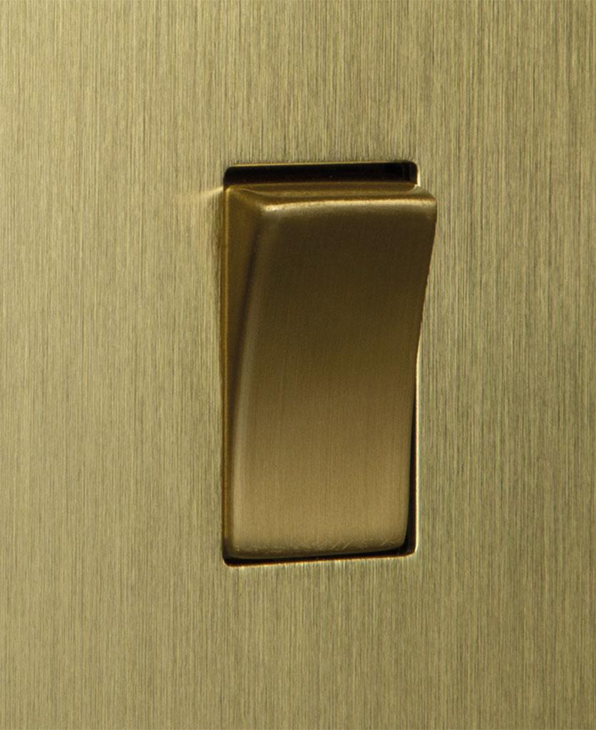 closeup of gold single rocker switch