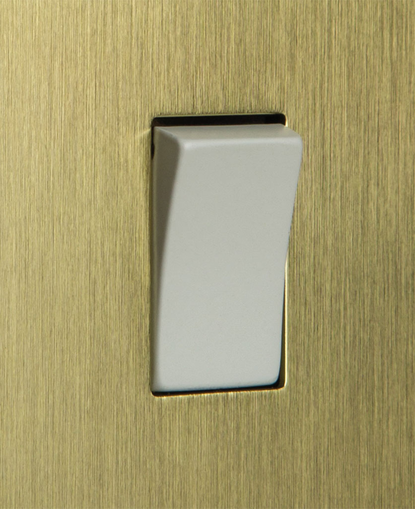 closeup of gold and white single rocker switch