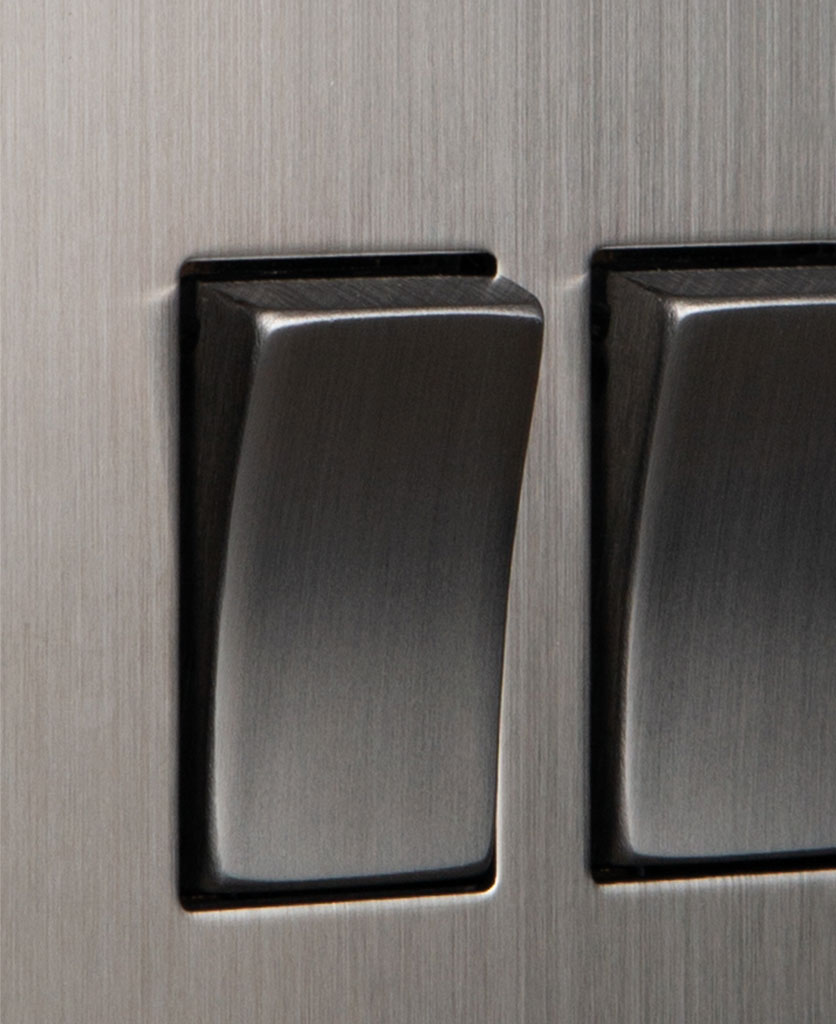 closeup of silver double rocker switch