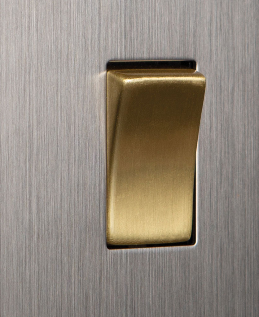 closeup of silver and gold single rocker switch