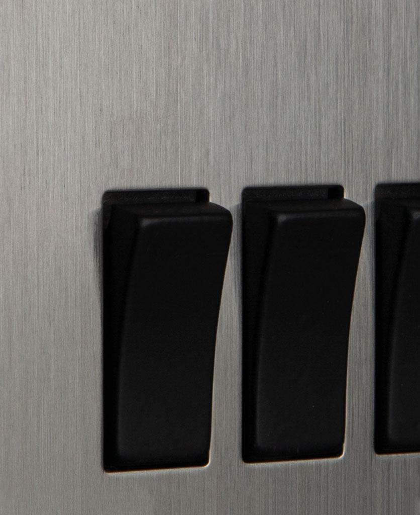 closeup of silver and black triple rocker switch