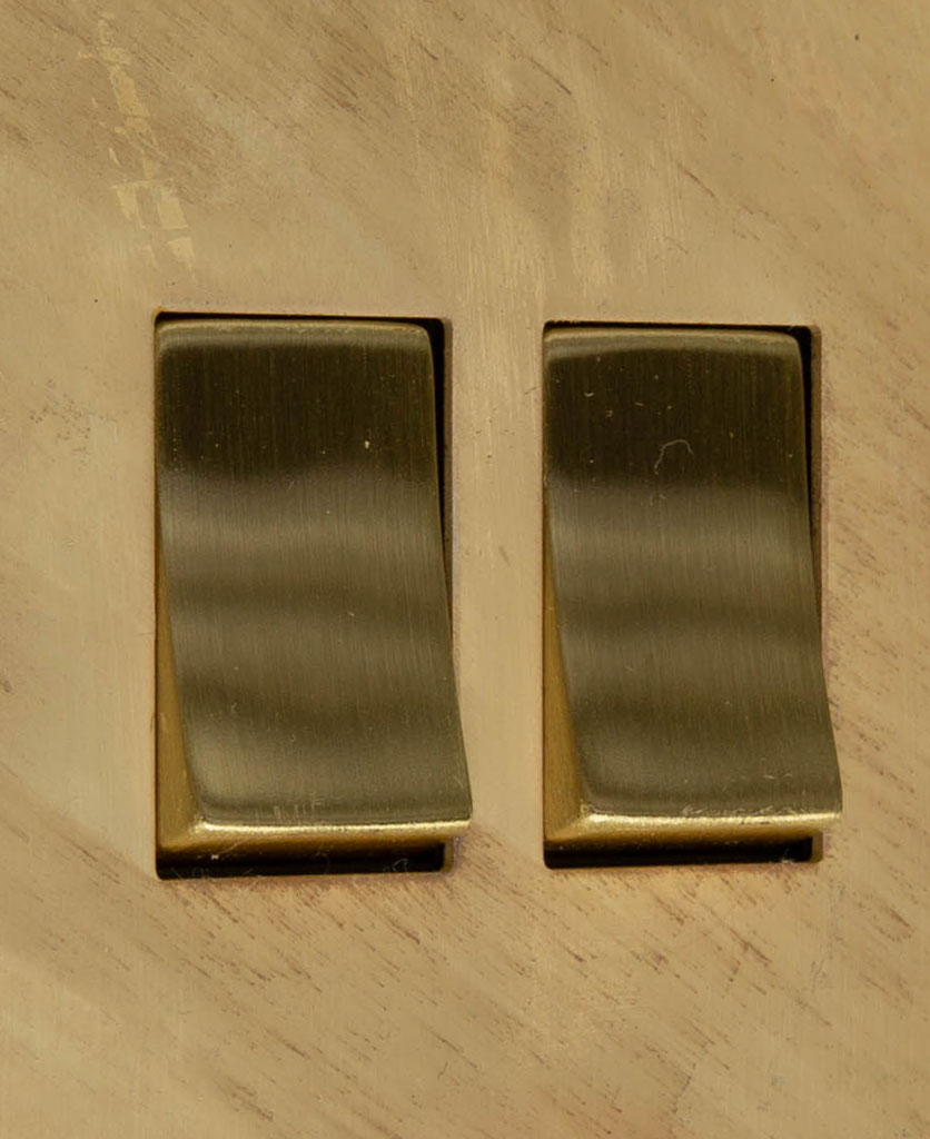 smoked gold and gold double 2g rocker switch close up