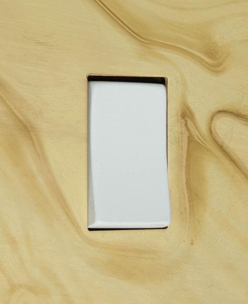 smoked gold and white single rocker switch 2-way close up
