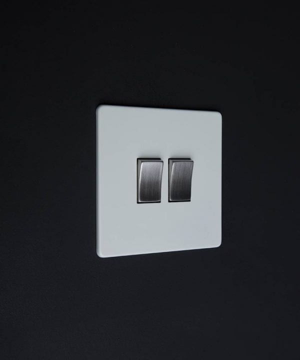 double rocker switch white & silver