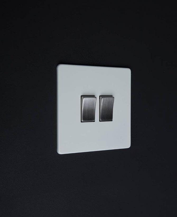 double rocker switch white & silver