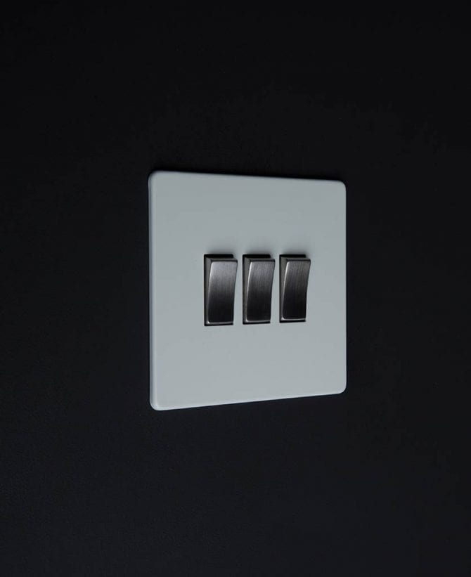 triple rocker switch white & silver