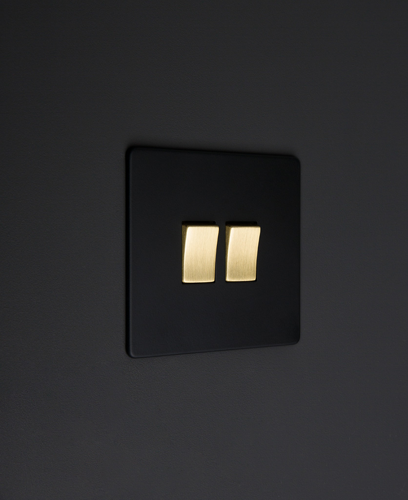 black and gold 2g double rocker switch