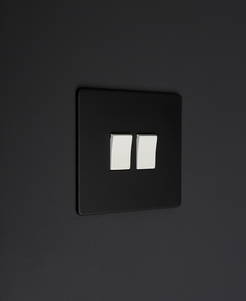 black and white 2g double rocker switch