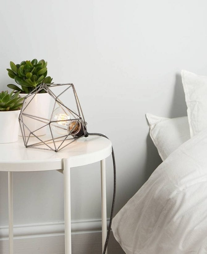 raw steel diamond table lamp