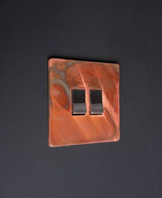 copper & silver double rocker switch