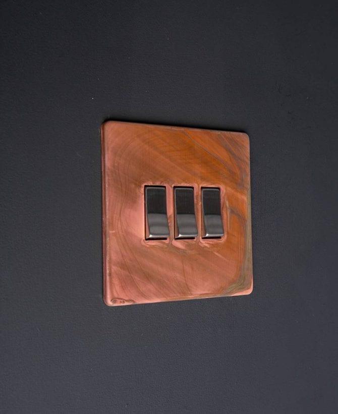 copper & silver triple rocker switch