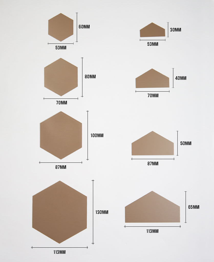 Hexagonal tile dimensions, small, large & half tiles