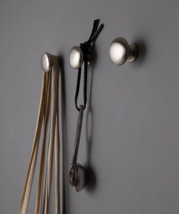 Realist brushed silver metal wall hook