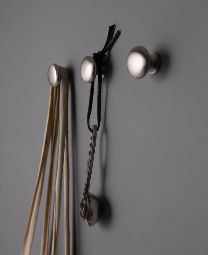 Realist brushed silver metal wall hook