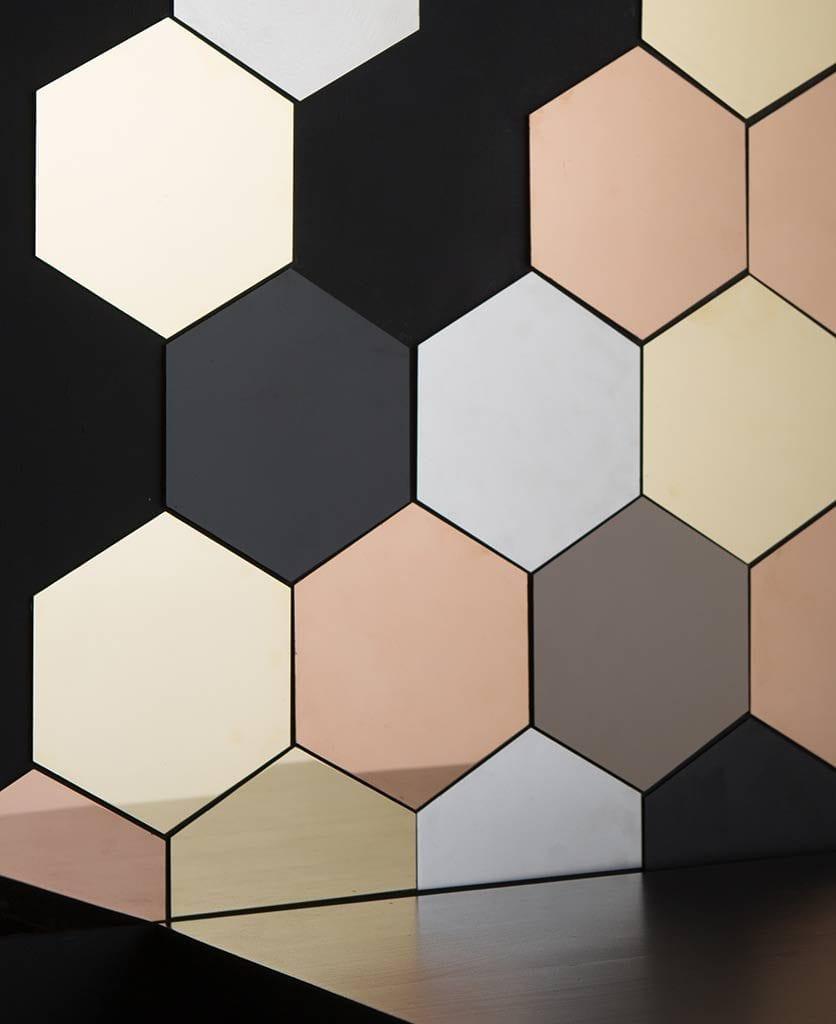 hexagonal tiles, metallic honeycomb decorative tiles
