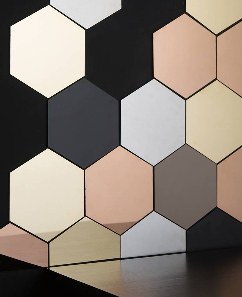 hexagonal tiles, metallic honeycomb decorative tiles