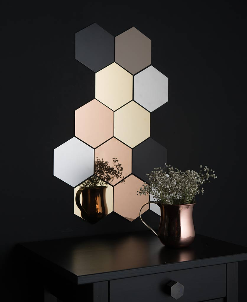 hexagon tiles - metallic honeycomb tiles for making decorative mosaics in your home
