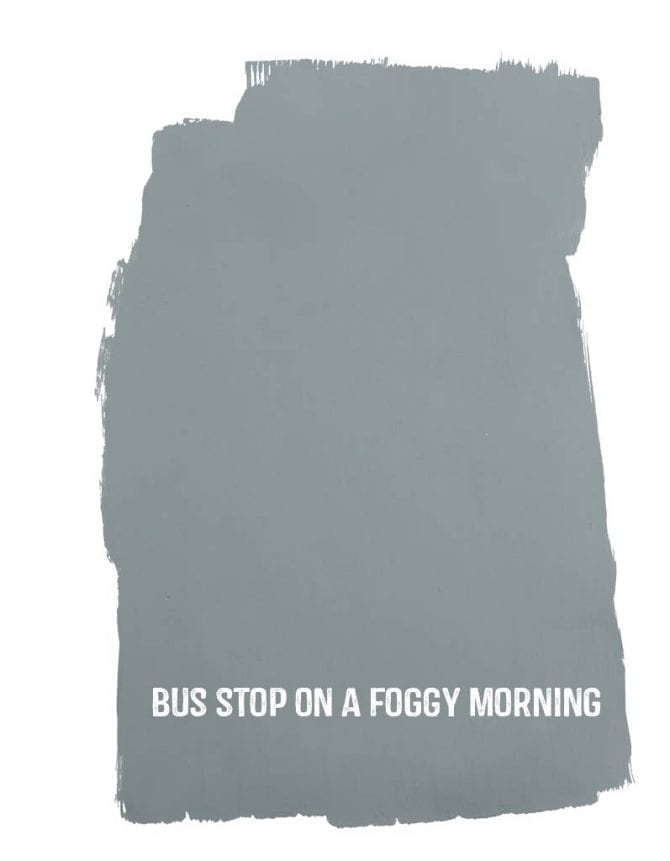 bus stop on a foggy morning sample