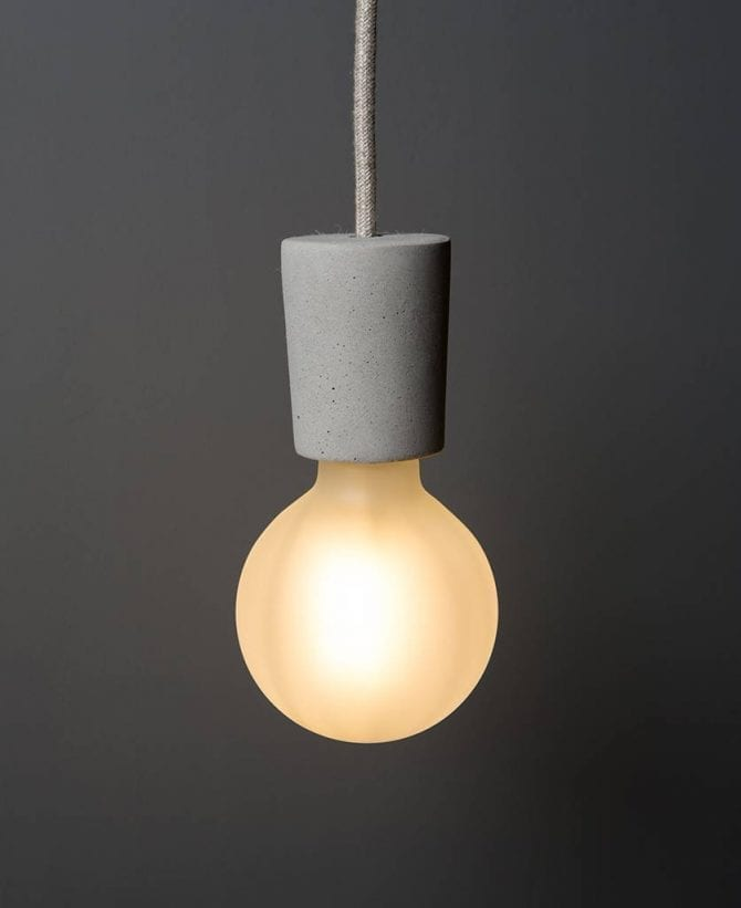 concrete pendant light with bulb